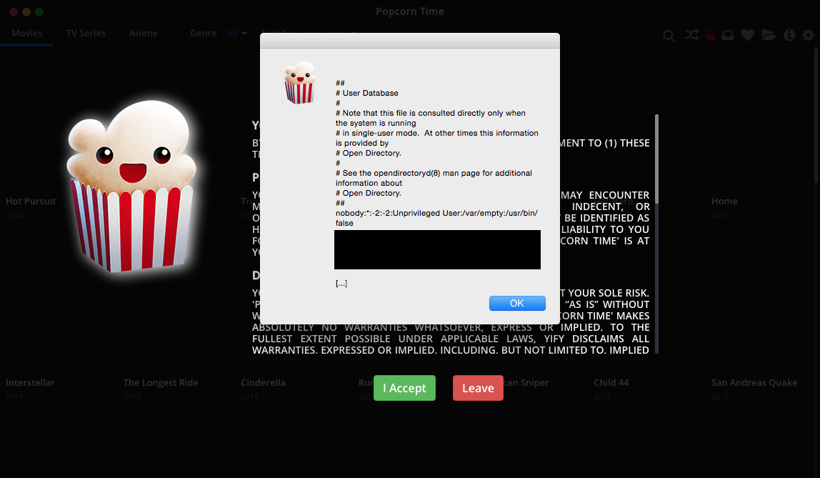 Popcorn Time Local File Read Alert