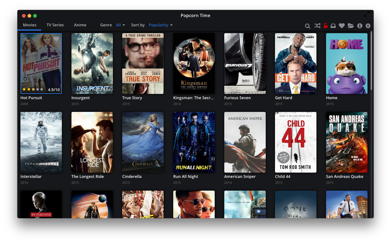 The Easy-To-Use UI of Popcorn Time